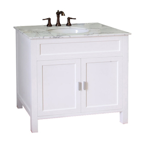 Display Product Reviews For White Single Sink Vanity With Natural Marble Top Common