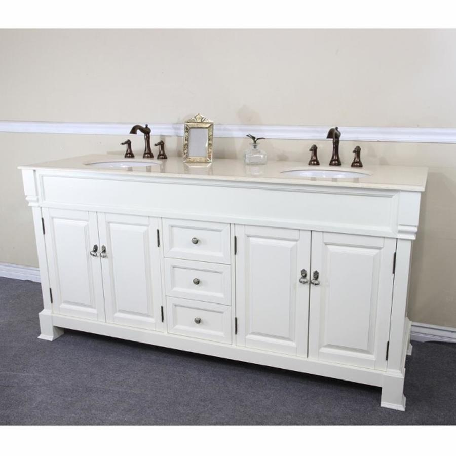 Bellaterra Home 72 In Cream White Undermount Double Sink Bathroom Vanity With Cream Marble Natural Marble Top In The Bathroom Vanities With Tops Department At Lowes Com