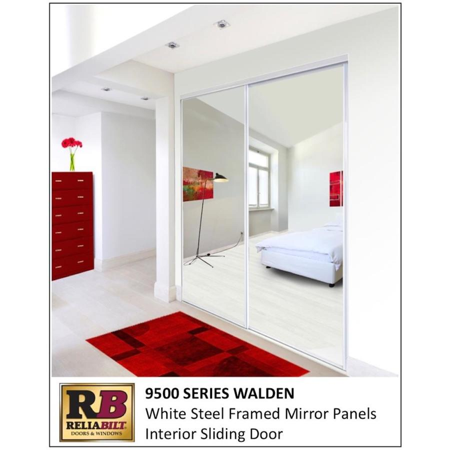 Reliabilt 9500 Series Walden 60 In X 96 In White Mirror Panel Mirrored Glass Prefinished Steel Sliding Door Hardware Included In The Closet Doors Department At Lowes Com