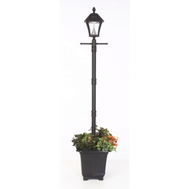 Shop post lighting at lowes display product reviews for baytown 77 in h black solar led post light aloadofball