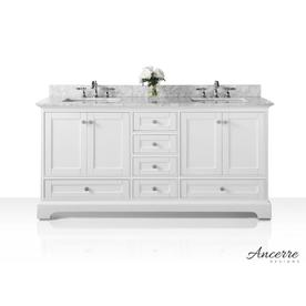 Display Product Reviews For Audrey 72 In White Double Sink Bathroom Vanity With Carrara