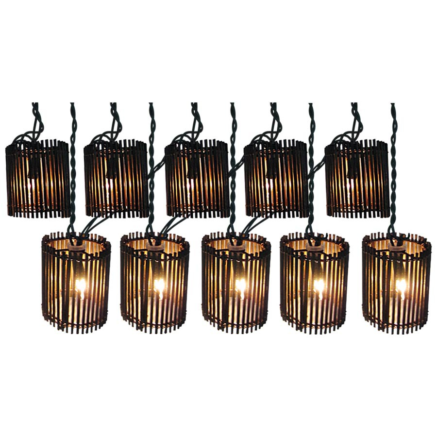 Outdoor Patio String Lights Lowes: Shop Allen + Roth 7.8-ft Brown/Tan Mini Bulb Rattan Patio