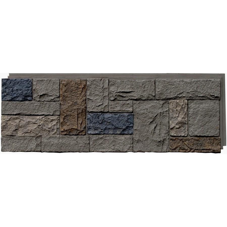 Shop nextstone tudor gray castle rock faux stone veneer - Faux stone exterior siding panels ...
