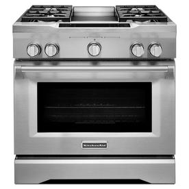 KitchenAid Self-Cleaning Convection Single Oven Dual Fuel...