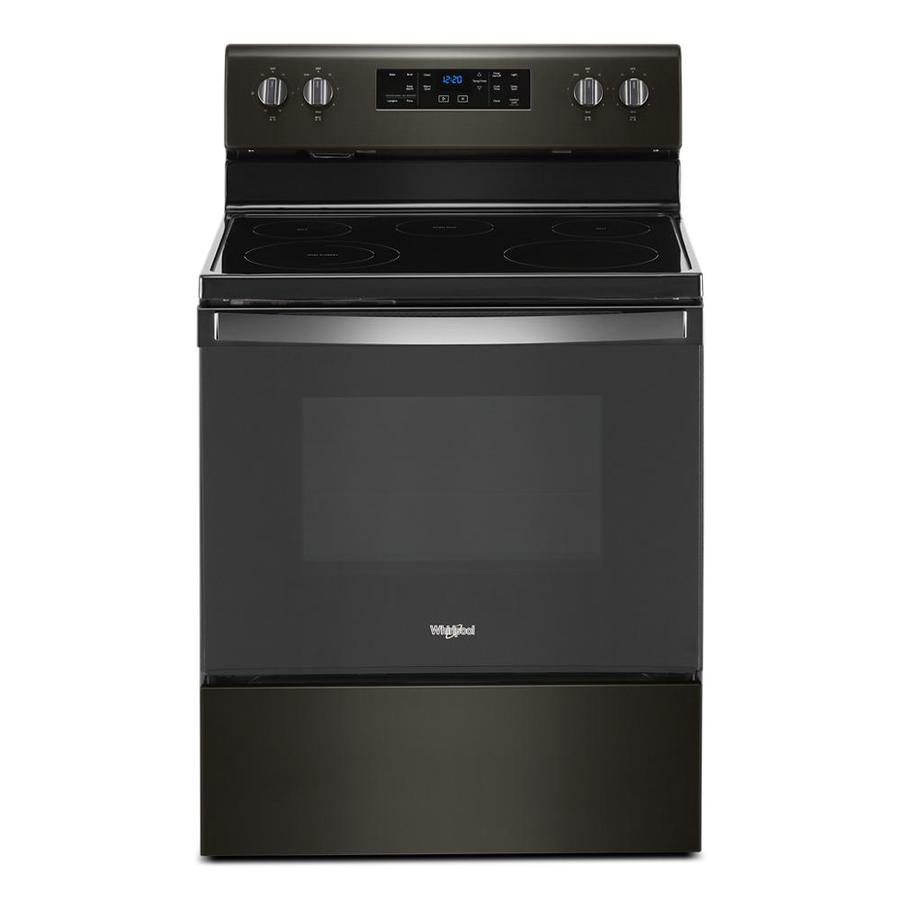Whirlpool Smooth Surface 5 Elements 5.3-cu ft Steam Cleaning Freestanding Electric Range (Black Stainless) (Common: 30-in; Actual: 29.88-in)