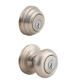 Kwikset Juno Satin Nickel Smartkey Keyed Entry Door Knob Single-Cylinder Deadbolt Combo Pack 99910-034