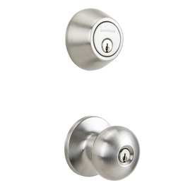 Gatehouse Baron Satin Nickel Single-Cylinder Deadbolt Keyed Entry Door Knob Combo Pack (1 Knob And 1 Deadbolt) BFX2L1