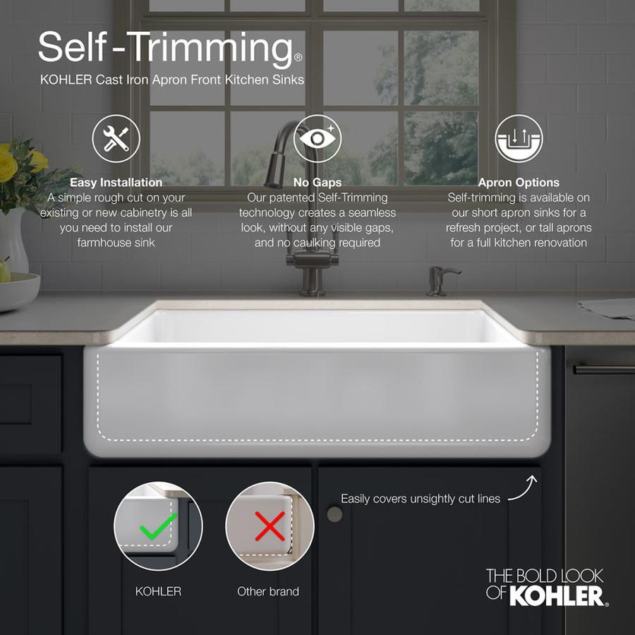 Kohler Whitehaven Undermount Apron Front Farmhouse 35 68 In X 21 56 In White Single Bowl Kitchen Sink In The Kitchen Sinks Department At Lowes Com