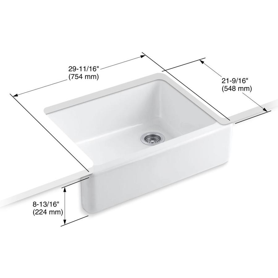 Kohler Whitehaven Undermount Apron Front Farmhouse 29 68 In X 21 56 In White Single Bowl Kitchen Sink In The Kitchen Sinks Department At Lowes Com