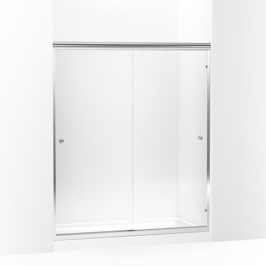 Sterling Finesse 70 0625 In H X 54 625 In To 59 625 In W Frameless Sliding Silver Shower Door Clear Glass In The Shower Doors Department At Lowes Com