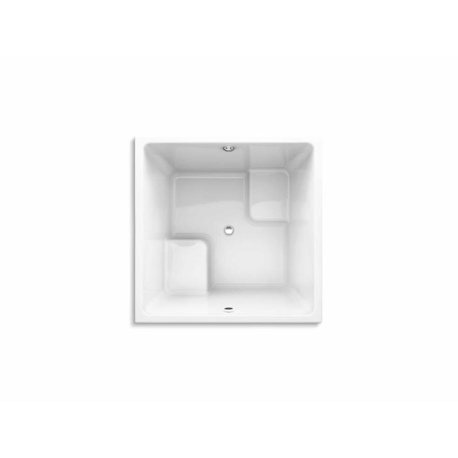 Kohler Underscore 48 In W X 48 In L White Acrylic Square Center Drain Drop In Soaking Bathtub In The Bathtubs Department At Lowes Com