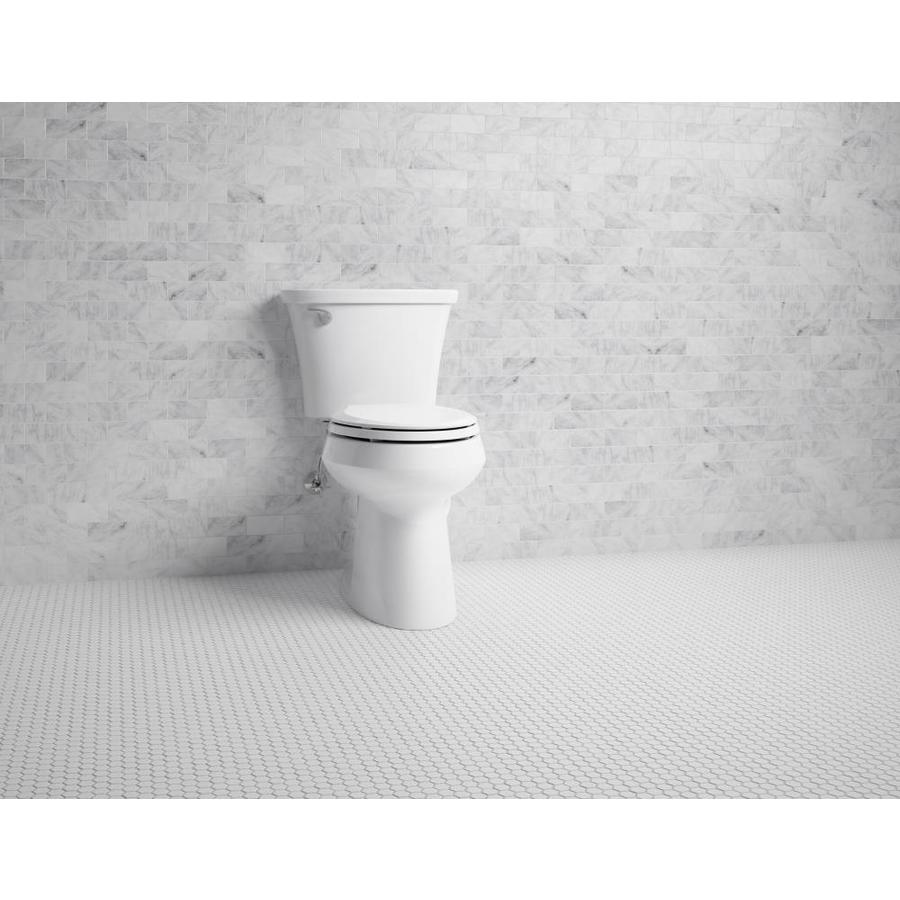 Kohler Elliston Complete Solution White Watersense Elongated Chair Height 2 Piece Toilet 12 In Rough In Size Ada Compliant In The Toilets Department At Lowes Com