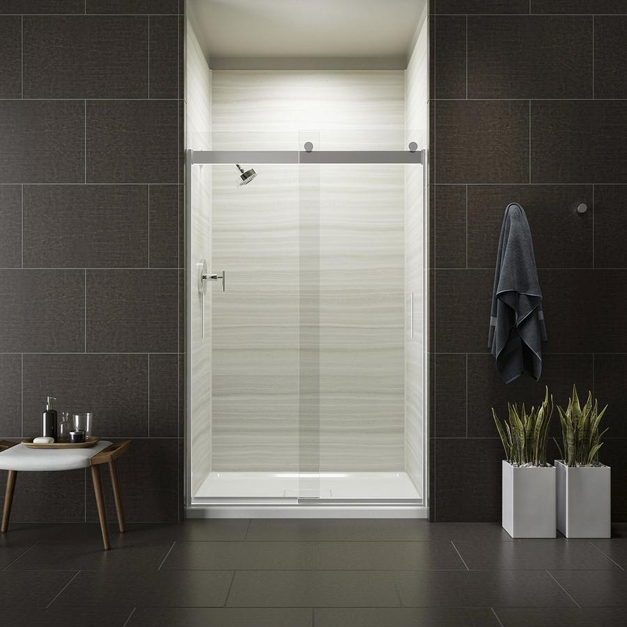 Levity 74-in H x 44.625-in to 47.625-in W Frameless Sliding Bright silver Shower Door (Clear Glass) in Gray   - KOHLER R706008-L-SH