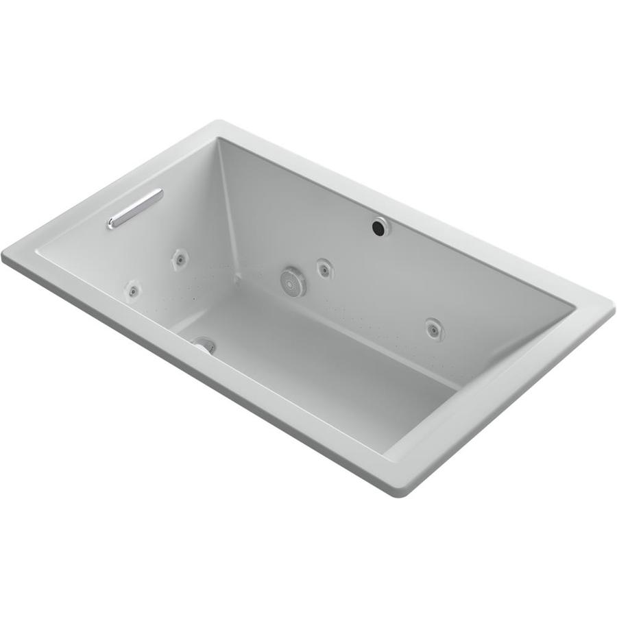 Kohler Underscore Rectangle 36-In W X 60-In L Ice Grey Acrylic Rectangular Reversible Drain Drop-In Combination Tub K-18
