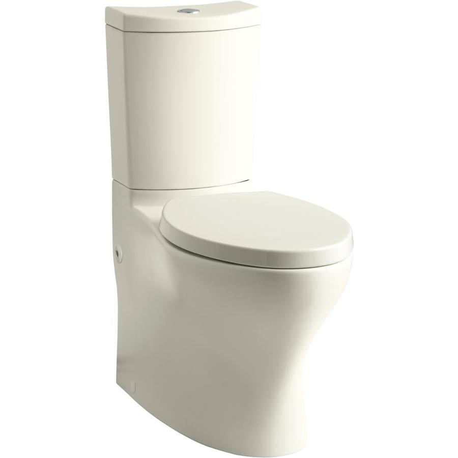 KOHLER Persuade Curv Almond WaterSense Dual Flush Elongated Comfort Height 2-Piece Toilet 12-in Rough-In Size in Off-White | K-6355-47