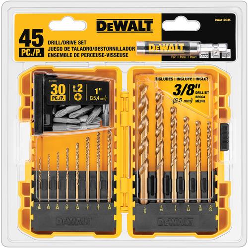 DEWALT Gold Ferrous Twist Drill Bit Set DWA11DD45TWR