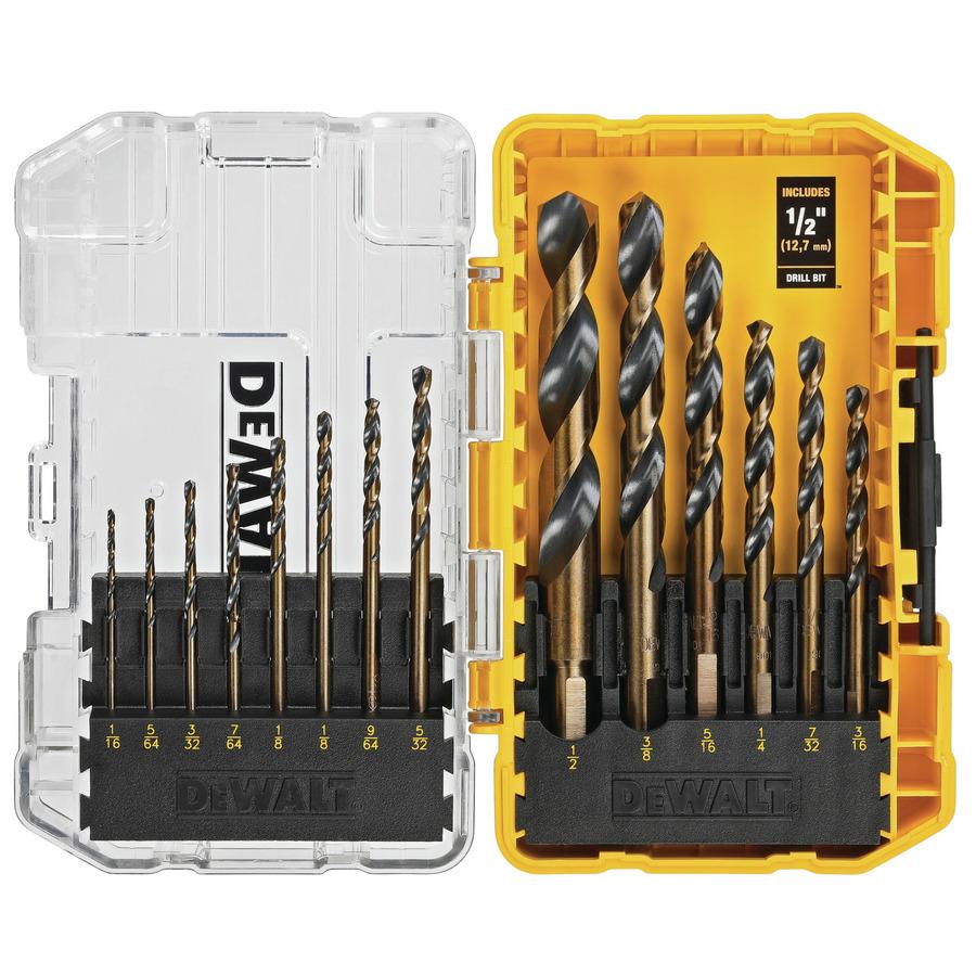 DEWALT 14-Piece Assorted Black and Gold Coated HSS Twist Drill Bit Set | DWA1184