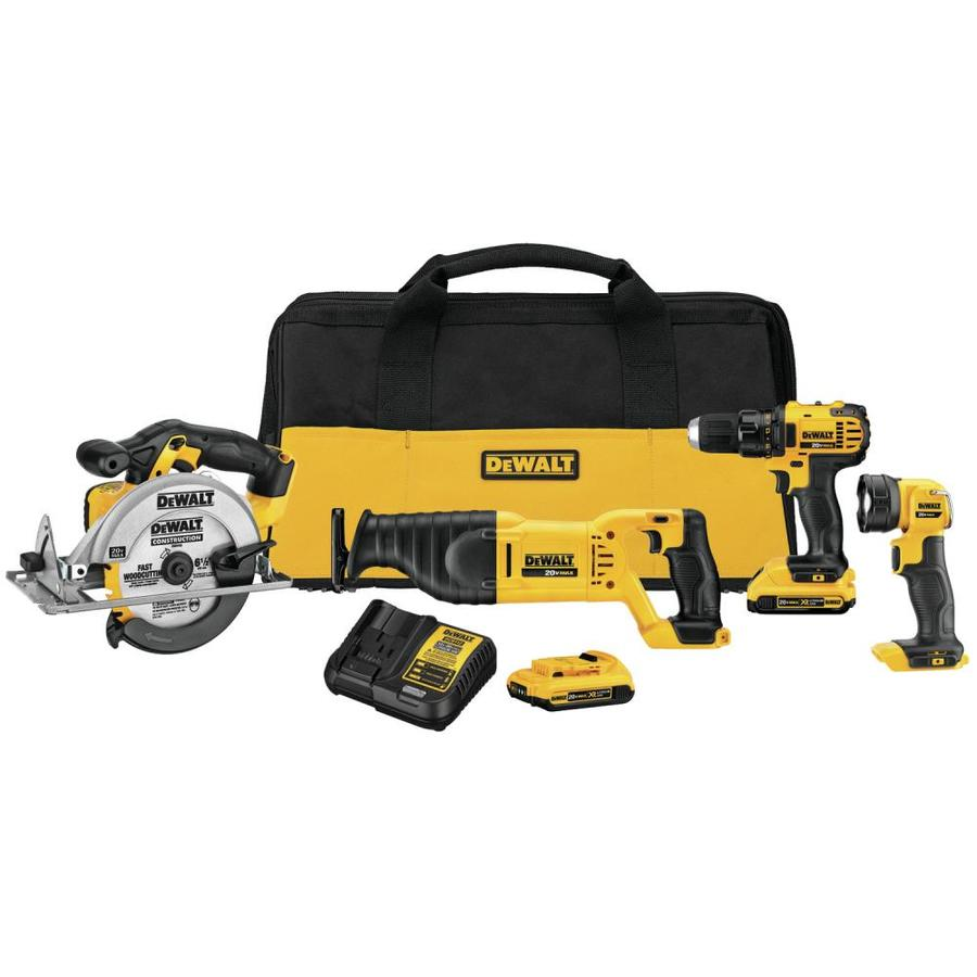 DEWALT 4-Tool 20V MAX LI-ION Cordless Power Tool Combo Kit with Soft Case (Charger Included and (2) 2.0Ah Batteries Included)...