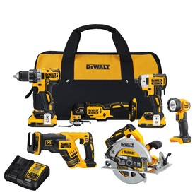 Dewalt Xr 20-Volt Max 6-Tool Brushless Power Tool Combo Kit With Soft Case (2-Batteries Included And Charger Included) D