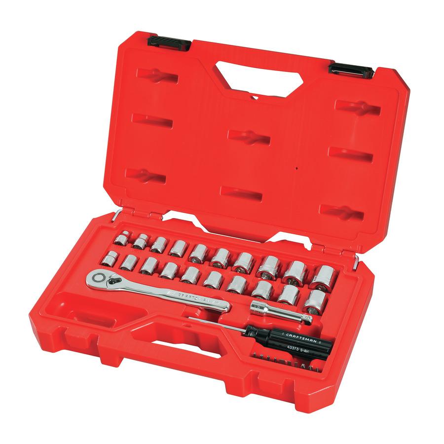 CRAFTSMAN 33-Piece Standard (SAE) and Metric Polished Chrome Mechanics Tool Set   CMMT12013