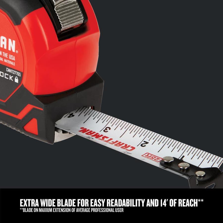 CMHT37765S 25-Foot AUTOLOCK CRAFTSMAN Tape Measure Power & Hand ...