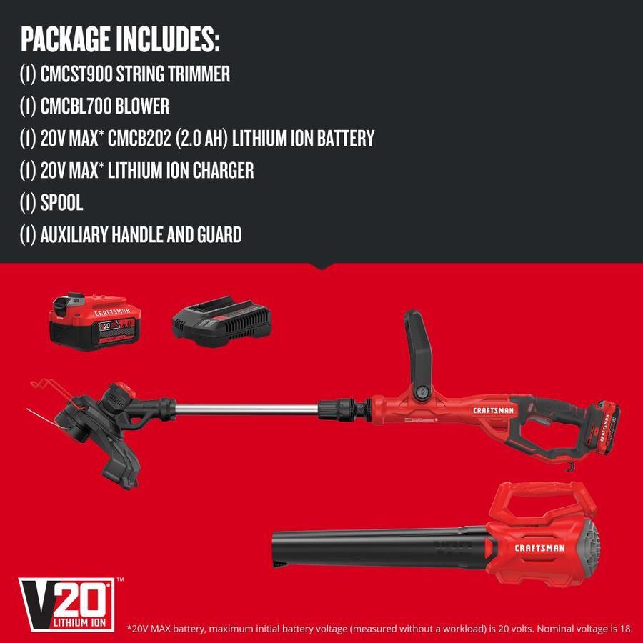 Craftsman V20 2 Piece 20 Volt Max Cordless Power Equipment Combo Kit In The Power Equipment Combo Kits Department At Lowes Com
