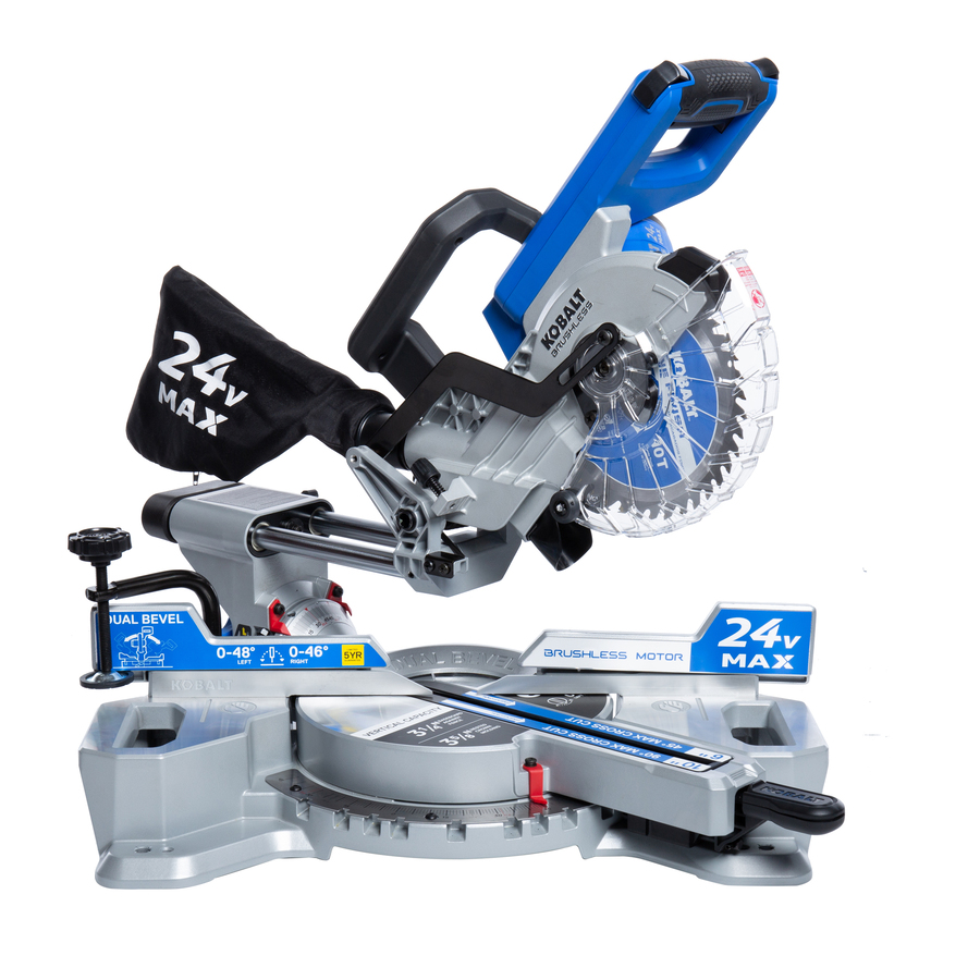 7-1/4-In 24-Volt Max Dual Bevel Sliding Compound Cordless Miter Saw - Kobalt KMS 0724B-03