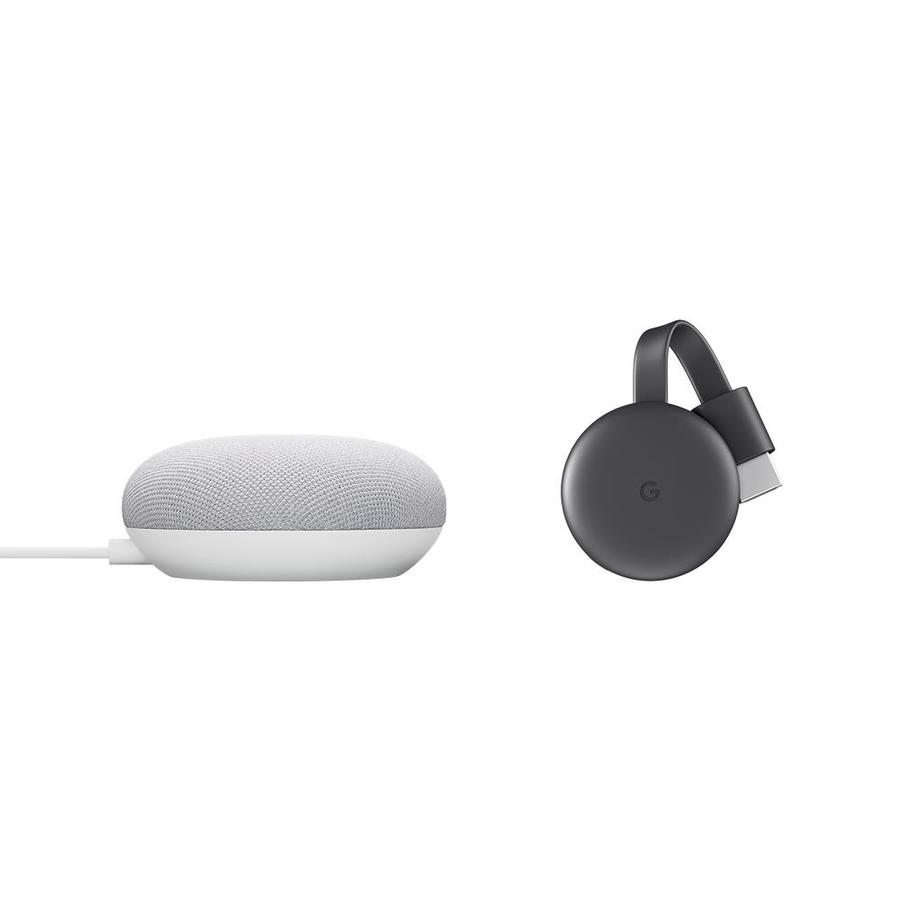 Google Nest Mini (2nd Generation) with Google Assistant in Chalk and Chromecast Streaming Media Player   GA00638-CC