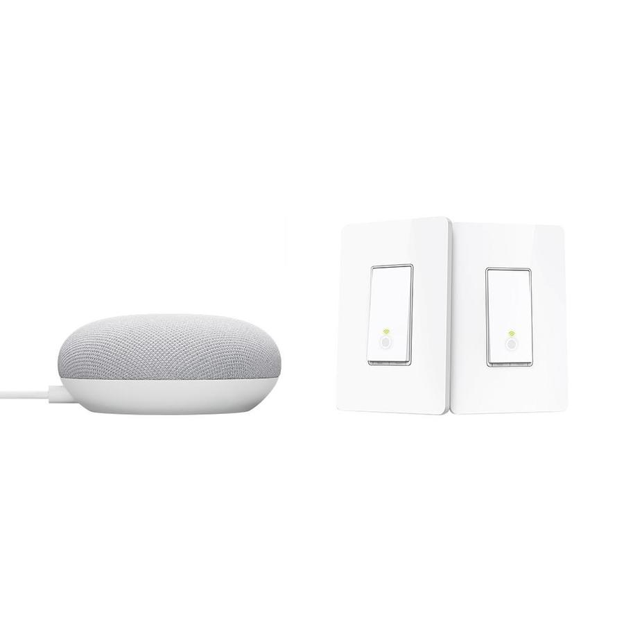 Google Nest Mini with Google Assistant (2nd Generation) in Chalk and TP-Link Kasa Smart Wi-Fi Light Switch 3-Way Kit | GA00638HS210