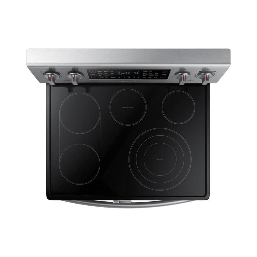 Samsung Flex Duo 30 In Smooth Surface 5 Elements 2 6 Cu Ft 3 2 Cu Ft Self Cleaning Convection Oven Freestanding Double Oven Electric Range Stainless Steel In The Double Oven Electric Ranges Department At Lowes Com