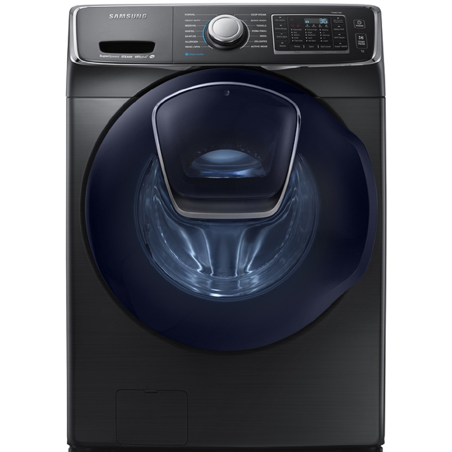 Samsung Smart AddWash 4.5-cu ft High Efficiency Stackable Steam Cycle Front-Load Washer (Black Stainless Steel) ENERGY STAR   WF45K6500AV