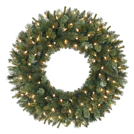 Holiday Living 30-in Pre-Lit Indoor/Outdoor Plug-In Green Pine Artificial Christmas Wreath with White Clear Incandescent Lights GD26M4762C04