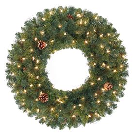 Holiday Living 30-in Pre-Lit Indoor/Outdoor Plug-In Green Pine Artificial Christmas Wreath with White Clear Incandescent Lights GD26M3390C07