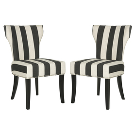 Set of 2 Mercer Black/White Stripe Side Chairs - Safavieh MCR4706F-SET2