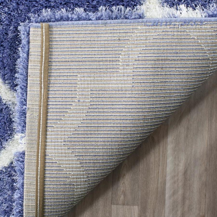 Safavieh Montreal Mirabel Shag 7 X 7 Periwinkle Ivory Round Indoor Trellis Area Rug In The Rugs Department At Lowes Com