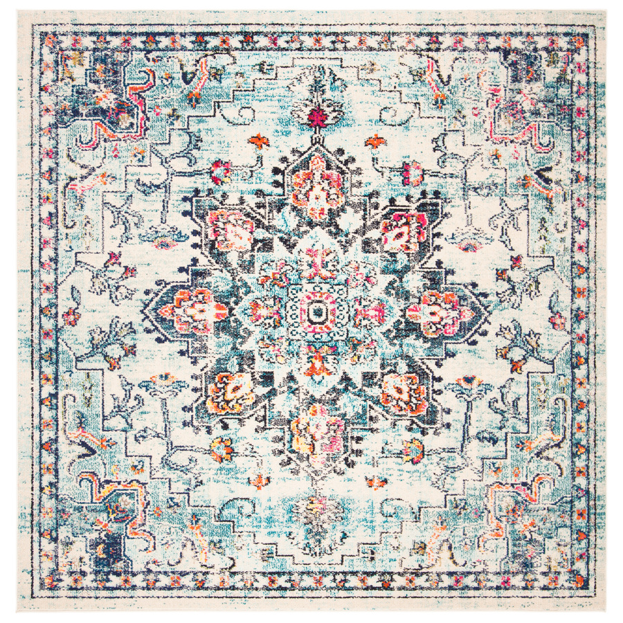 Safaviehsafavieh Madison Blain 7 X 7 Cream Blue Square Distressed Overdyed Global Area Rug Mad473b 7sq Dailymail