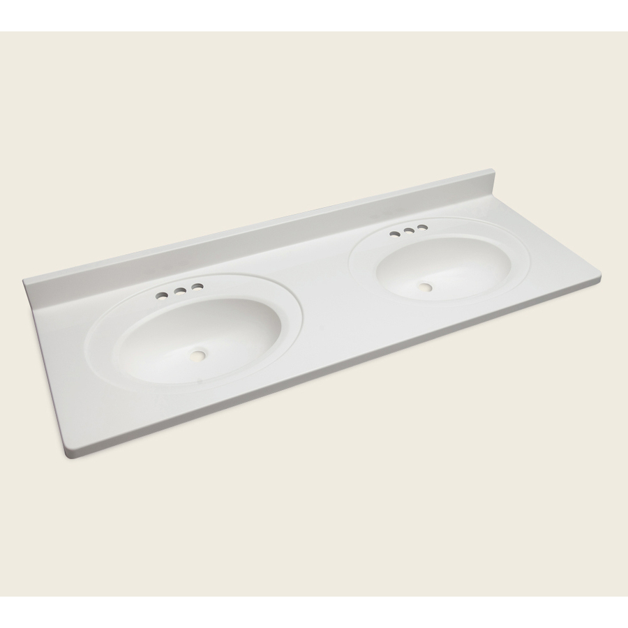 Shop style selections vanity white cultured marble - Bathroom vanity double sink marble top ...