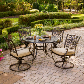 Hanover Outdoor Furniture Traditions 5-Piece Bronze Aluminum Patio Dining Set TRADITIONS5PCSW