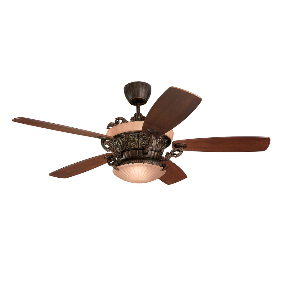 Monte Carlo Fan Company Strasburg 56 in Tuscan Bronze Downrod Mount Indoor Ceiling Fan Remote Control Included (5 Blade)