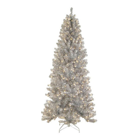 Northlight Allstate 6.5-ft Pre-Lit Tinsel Slim Artificial Christmas Tree with Clear White Incandescent Lights ATG10954687