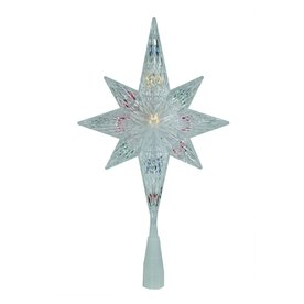 Northlight Sienna 11-in Clear Pre-Lit Plastic Star Christmas Tree Topper with Multicolor Incandescent Lights ATG10979893
