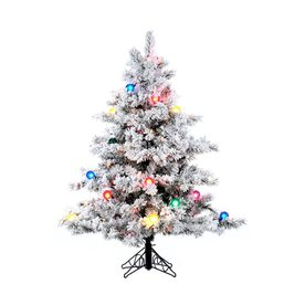 Vickerman 4.5-ft Pre-Lit Alaskan Pine Flocked White Artificial Christmas Tree with Multicolor Incandescent Lights A806348