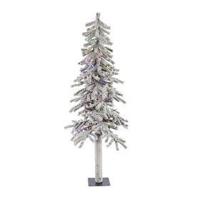 Vickerman 5-ft Pre-Lit Alpine Slim Flocked Artificial Christmas Tree with Multicolor LED Lights A807452LED
