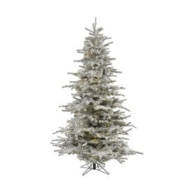 Vickerman 12-ft Pre-Lit Flocked Artificial Christmas Tree with Warm White LED Lights A861891LED