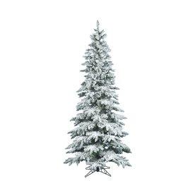 Vickerman 12-ft Utica Fir Slim Flocked Artificial Christmas Tree A895090
