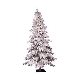 Vickerman 4-ft Pre-Lit Alpine Flocked Slim Artificial Christmas Tree with White Incandescent Lights A806241